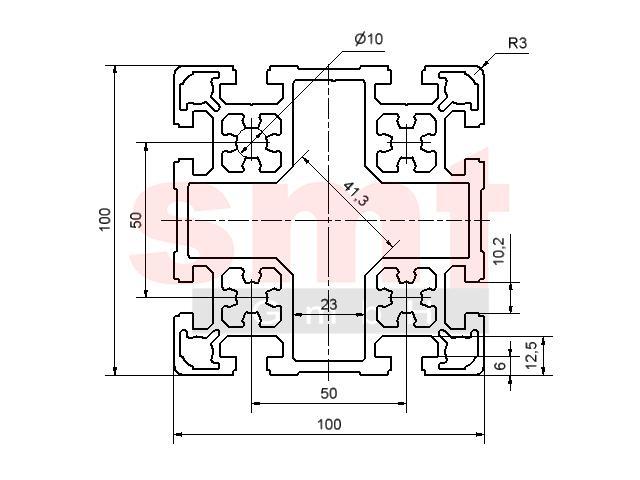 alu profil 10 100x100 item profil kompatibel aluprofile. Black Bedroom Furniture Sets. Home Design Ideas
