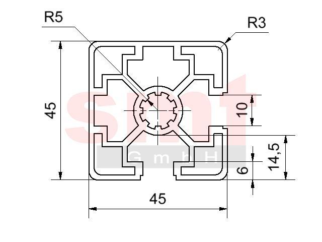 alu profil 10 45x45 2n90 item profil kompatibel. Black Bedroom Furniture Sets. Home Design Ideas