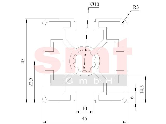 alu profil 10 45x45 leicht item profil kompatibel. Black Bedroom Furniture Sets. Home Design Ideas
