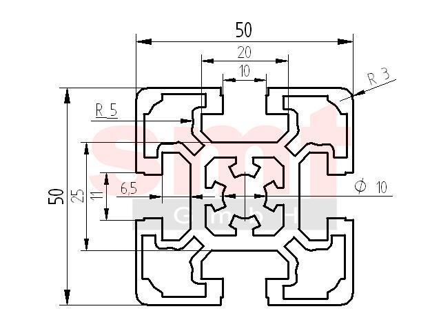 alu profil 10 50x50 item profil kompatibel aluprofile baureihe 10 smt gmbh. Black Bedroom Furniture Sets. Home Design Ideas