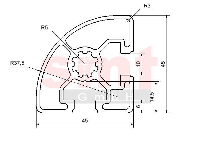 alu profil 10 r45 90 item profil kompatibel aluprofile. Black Bedroom Furniture Sets. Home Design Ideas